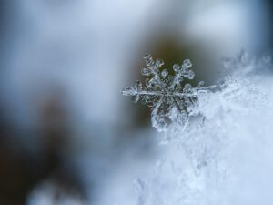 Winterbild mit Schneekristall