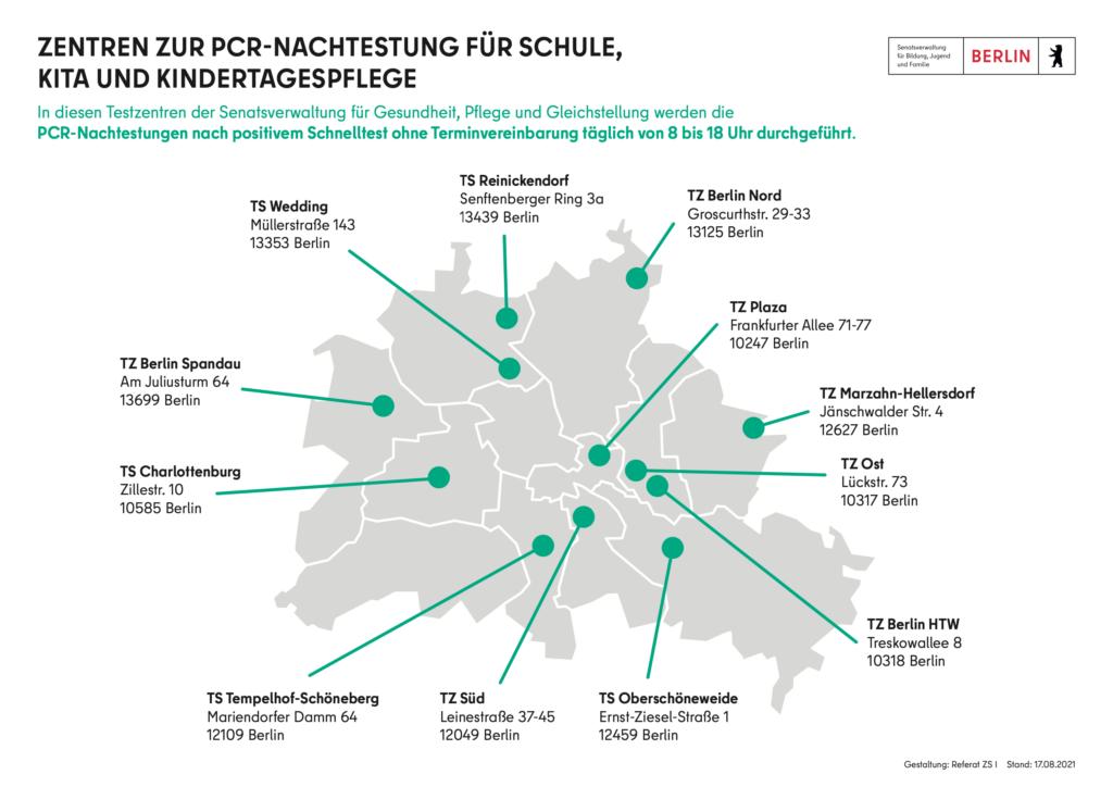 Karte von Berlin mit der Angabe von 12 Testzentren für PCR-Tests